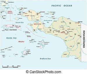 papua, provincias, vector, indonesio, oeste, mapa