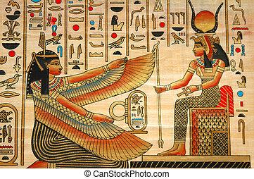 Papyrus con elementos de la historia antigua egipcia