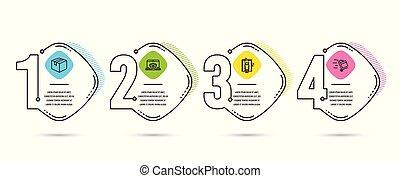 Paquete, entrega en línea e íconos del ascensor. Empuja la señal del carro. Caja de envíos, sitio web de rastreo de paquetes, ascensor. Vector