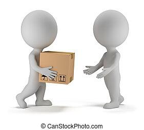 paquete, gente, -, entrega, pequeño, 3d