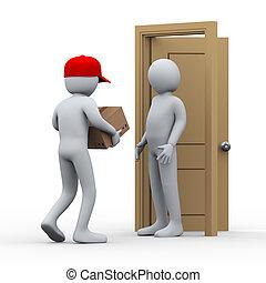 paquete, hombre, 3d, entrega, hogar