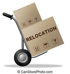 paquete, residencia, medios, recolocación, cartón, cambio