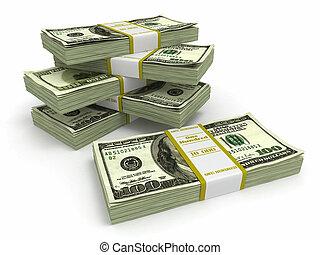 Paquetes de dólares en antecedentes blancos.