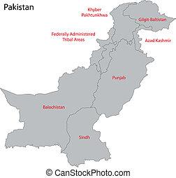 paquistán, gris, mapa