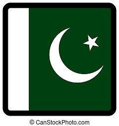 paquistán, sitio, botón, patriotismo, conmutación, comunicación, contorno, medios, forma, cuadrado, bandera, idioma, social, contrastar, señal, icon.