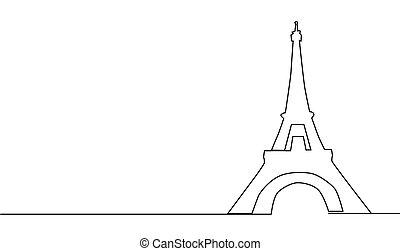 parís, atracciones, torre, dibujo lineal, illustration., eiffel, continuo