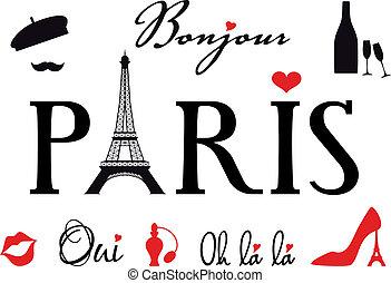 París con torre Eiffel, vector fijado
