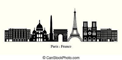 París, Francia marca el horizonte, silueta