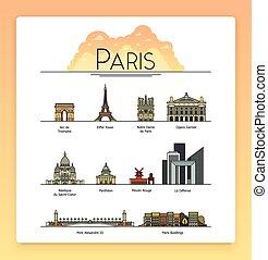 París, Francia, monumentos de viajes y iconos de arquitectura. Los destinos turísticos más populares, calles, catedrales, edificios, símbolos de la ciudad