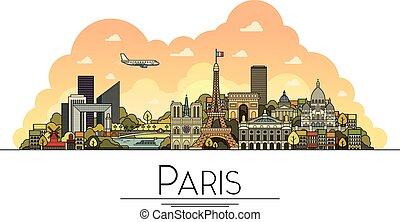 París, Francia, monumentos y icono de arquitectura. Los destinos turísticos más populares, calles de la ciudad, catedrales, edificios, símbolos en una ilustración