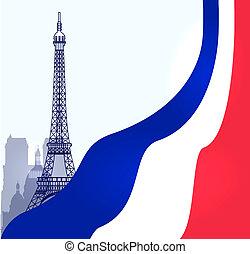 parís, ilustración, vector, bandera, francés