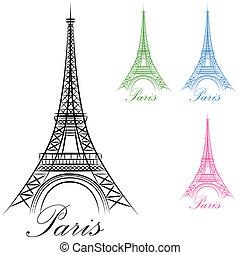 parís, torre, eiffel, icono