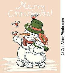 par cariñoso, tarjeta, snowmen, navidad