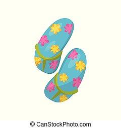 Par de aletas azules con flores vector de ilustración en un fondo blanco