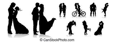par romántico, amor, parejas, silhouettes.