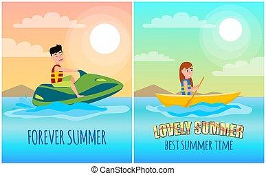 Para siempre los posters de verano ponen ilustraciones vectoriales