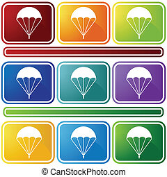 paracaídas, bisel, icono