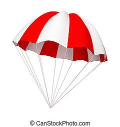 paracaídas, blanco rojo