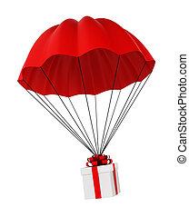 paracaídas, caja obsequio