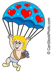 paracaídas, cupido