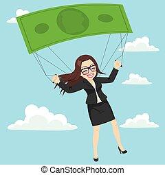 paracaídas, mujer de negocios, billete de banco