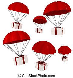 paracaídas, presentes, caer, cielo, 3d