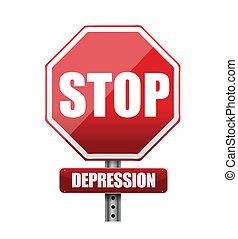 parada, ilustración, señal, diseño, depresión, camino
