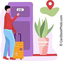parador, door., blanco, fondo., macho, carácter, parador, ilustración, motel, vector, puerta, marca, hotel, equipaje, concepto, geo