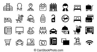 parador, vector, hotel, iconos, ilustración