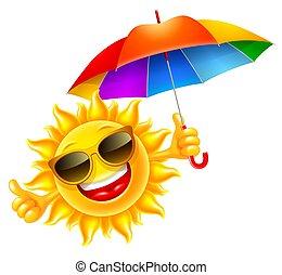 paraguas, alegre, multicolor, asideros, sol