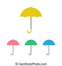 paraguas, blanco, aislado, conjunto, vector