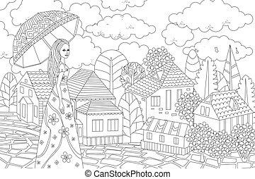 paraguas, ciudad, libro, agradable, colorido, niña, su