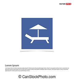 Paraguas de playa y icono de cama, fotograma azul