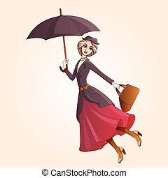paraguas, novela, casar, poppins, vuelo, carácter