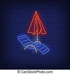 paraguas playa, señal, longue, chaise, neón