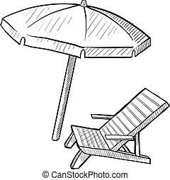 paraguas playa, silla, bosquejo