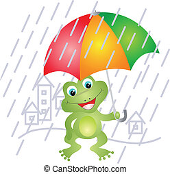 paraguas, rana, debajo