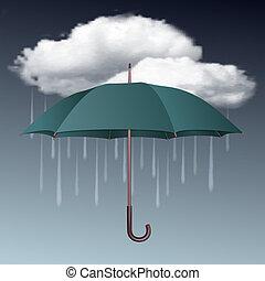 paraguas, tiempo lluvioso, nubes, icono