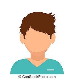 paramédico, aislado, macho, icono, avatar