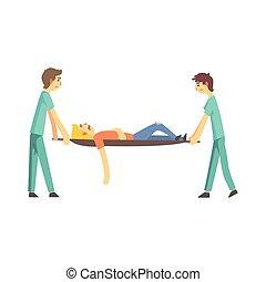 Paramédico ayudando a una persona herida después de accidentes personajes de dibujos animados vector de la ilustración