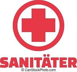 Paramédico con cruz roja