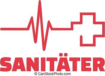 Paramédico con línea del corazón y cruz roja