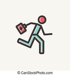 Paramédico corriendo con botiquín de primeros auxilios icono de línea delgada