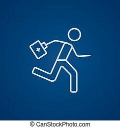 Paramédico corriendo con el ícono de primeros auxilios.