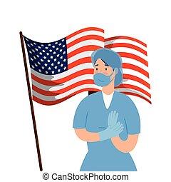 paramédico, estados unidos de américa, máscara, cara, hembra, bandera