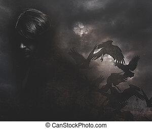 Paranormal, hombre de pelo largo y abrigo negro