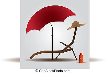 Parasol de playa de verano y cama Eps10