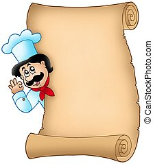 Parchment con chef acechador