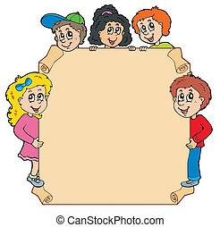 Parchment con varios niños al acecho