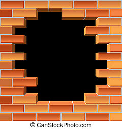 pared, agujero, ladrillo